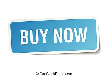 buy now blue square sticker isolated on white