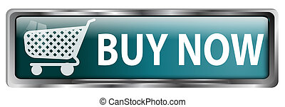 Buy now button with a shopping cart on white background