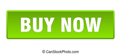 buy now button. buy now square green push button