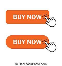 Hand cursor clicks buy button