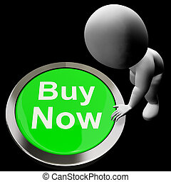 Buy Now Button Showing Purchasing And Online Shopping