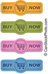 Buy now - Buy Now web labels for shopping made of leather. ...