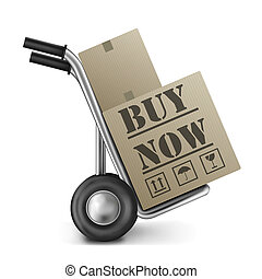buy now cardboard box on cart online shoppingicon for ...