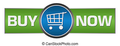 Buy now text written over green blue background.