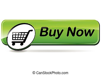 buy now green button - illustration of green web button for...