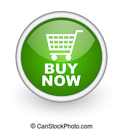 buy now green circle glossy web icon on white background
