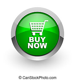 buy now green glossy web icon