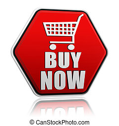 buy now hexagon button with shopping cart sign