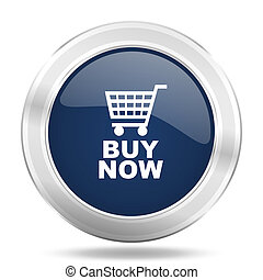 buy now icon, dark blue round metallic internet button, web and mobile app illustration