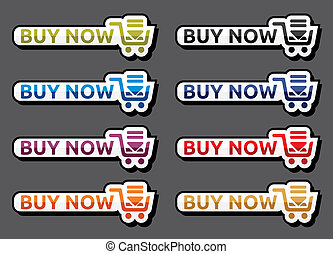 Buy now icon set