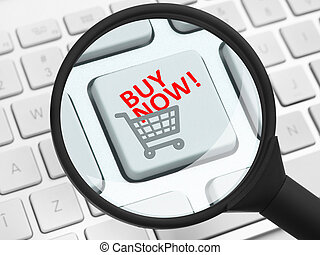 Buy now icon under the magnifying glass