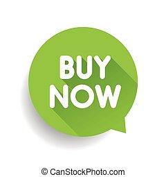 Buy now label vector speech bubble