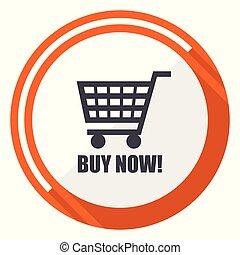 Buy now orange flat design vector web icon