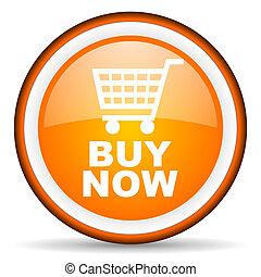 buy now orange glossy circle icon on white background
