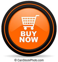 buy now orange glossy web icon on white background