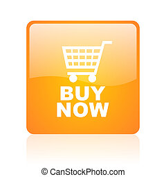 buy now orange square glossy web icon