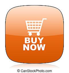 buy now orange square web design glossy icon