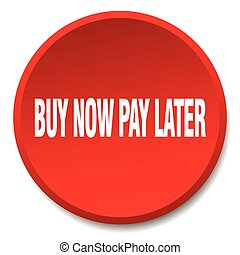buy now pay later red round flat isolated push button