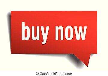 buy now red 3d speech bubble
