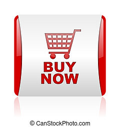 buy now red and white square web glossy icon