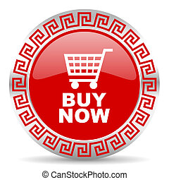 buy now - red web button wtih greek ornament