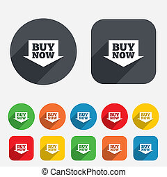 Buy now sign icon. Online buying arrow button. Circles and rounded squares 12 buttons. Vector