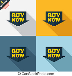 Buy now sign icon. Online buying arrow button. Four squares...
