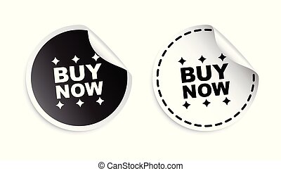 Buy now sticker. Black and white vector illustration.