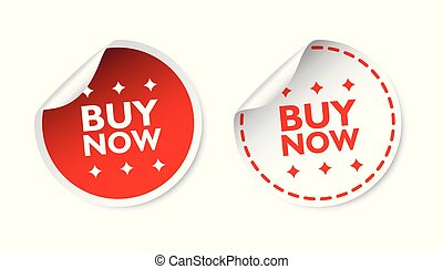 Buy now sticker. Business sale red tag label vector illustration on white background.