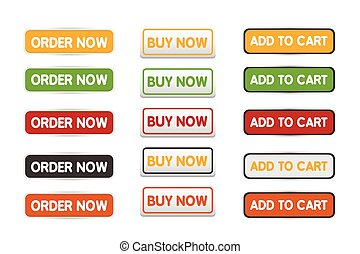 Buy now web button set vector desig