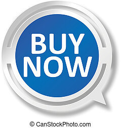 buy nowbwhite and red speech bubble web icon on blue background