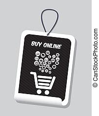buy on line design over gray background vector illustration