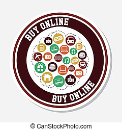 buy on line design over white background vector illustration