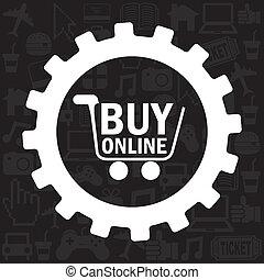 buy on line design over black background vector illustration