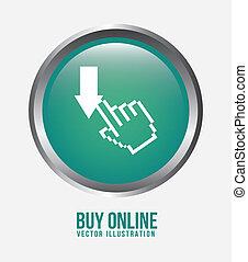 buy on line design over white background vector illustration