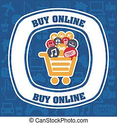 buy on line design over blue background vector illustration