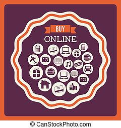 buy on line design over purple background vector...