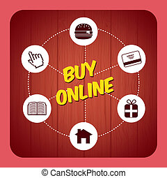 buy on line - buy on line design over pink background vector...