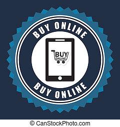 buy on line over blue background vector illustration