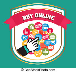 buy on line over blue background vector illustration