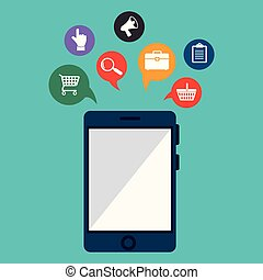 buy on line with smartphone vector illustration design