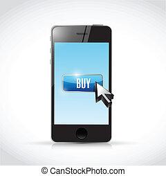 buy on your smartphone, illustration design