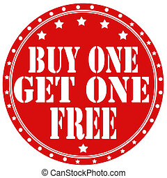 Buy One Get One Free-label - Red rubber label with text Buy...