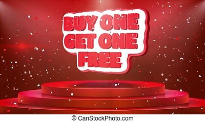 Buy One Get One Free Text Animation Stage Podium Confetti Loop Animation