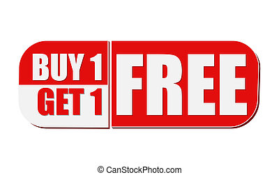 buy one get one free, white and red flat design label - buy...