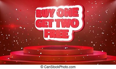 Buy One Get Two Free Text Animation on 3d Stage Podium Carpet. Reval Red Curtain With Abstract Foil Confetti Blast, Spotlight, Glitter Sparkles, Loop 4k Animation.