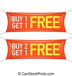 Buy one or two and get one for free banners