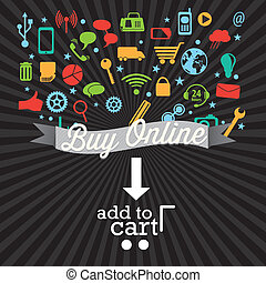 Buy Online (add to cart) with Icons. On black background. ...