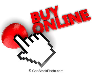 Buy online button with cursor hand