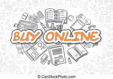 Buy Online - Cartoon Orange Inscription. Business Concept.